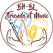 The Friends of Music logo with the words BH-BL friends of music and a depiction of hands holding musical instruments